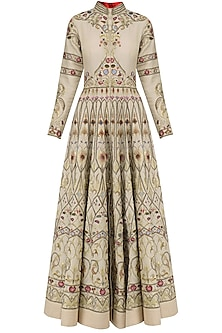 Beige Thread Embroidered Front Open Anarkali Gown