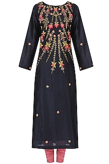 Navy and Pink Embroidered A Line Kurta Set