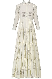 Off White Block Print Maxi Dress by Samant Chauhan