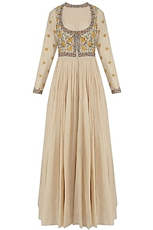 Natural Thread Embroidery Front Open Gown