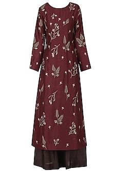 Maroon and Brown Floral Embroidered Kurta Set