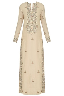 Natural Thread and Zari Embroidered Straight Gown
