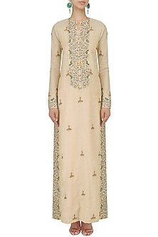 Natural Thread and Zari Embroidered Straight Gown by Samant Chauhan