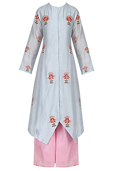 Sky Blue and Pink Thread Embroidered Kurta Set