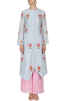 Sky Blue and Pink Thread Embroidered Kurta Set by Samant Chauhan