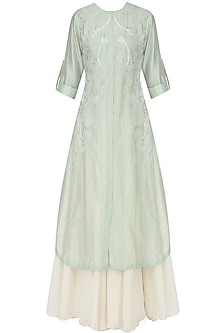 Mint Embroidered Kurta with Off White Maxi Dress
