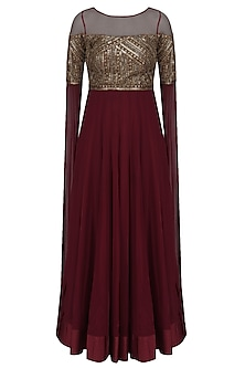 Deep Maroon Sequins Embellished Cape Sleeves Gown