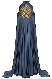 Greyish Blue Sequins Embellished Cape Sleeves Gown by Sanya Gulati