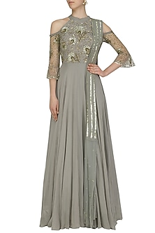 Ash Grey Metallic Sequins Cold Shoulder Gown by Sanya Gulati