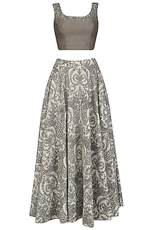 Ash Grey Sequinned Crop Top and Peacock Motifs Skirt Set
