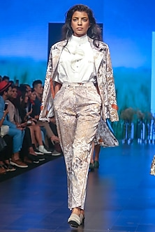 White Embroidered Shirt by Sneha Arora