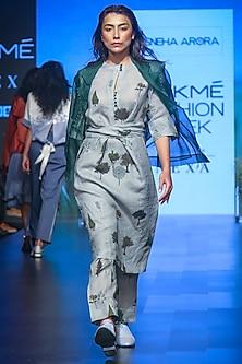 Dark Green Sheer Drawstring Jacket by Sneha Arora