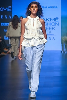 Off White Embroidered Drawstring Top by Sneha Arora