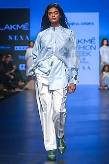 White Striped Trouser Pants by Sneha Arora