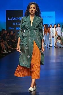 Rust Polka Pleated Skirt by Sneha Arora