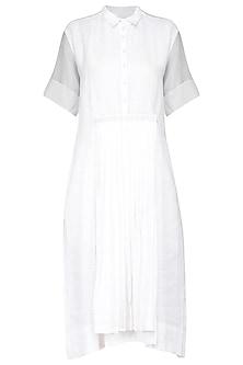 White Pleated Midi Dress