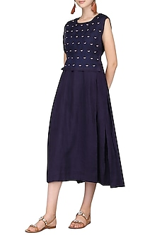 Indigo Embroidered Midi Dress by Sneha Arora