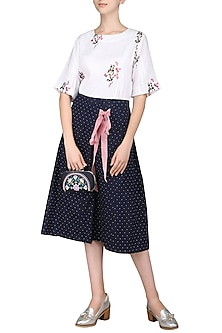 Indigo Wrap Up Polka Dot Skirt by Sneha Arora