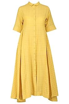 Yellow Checkered Print Flared Dress