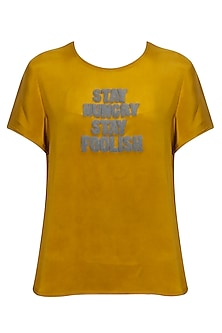 """Ochre embroidered """"Stay Hungry Stay Foolish"""" top by Sneha Arora"""