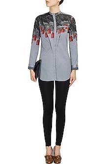 Grey raddish printed front open shirt by Sneha Arora