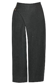 Charcoal grey overlapped slit skirt by Sneha Arora