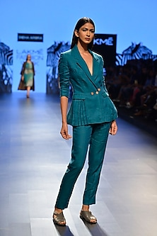 Teal linen suit set by Sneha Arora