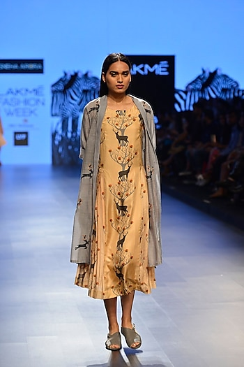 Grey embroidered khadi summer jacket by Sneha Arora