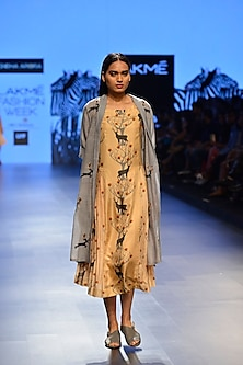 Grey embroidered khadi summer jacket by Sneha Arora