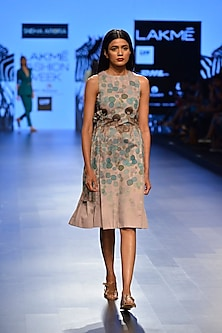 Mud color hybrid goat printed dress by Sneha Arora