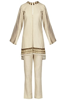 Beige Cape Sleeves Jacket with Pants Set