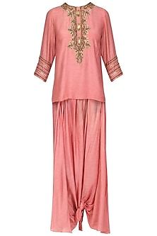 Old Rose Pink Embroidered Tunic with Dhoti Pants Set