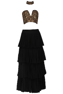 Black Embroidered Bustier with Choker and Layered Skirt by Samatvam By Anjali Bhaskar