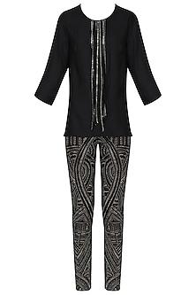Black Tasseled Top with Embroidered Pants by Samatvam By Anjali Bhaskar