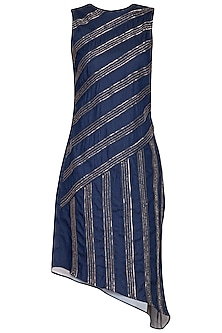 Blue Embellished Asymmetrical Denim Dress by Samatvam By Anjali Bhaskar