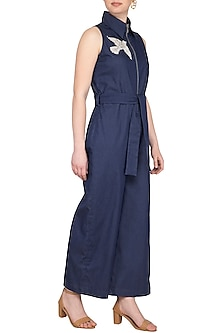 Blue Embellished Denim Jumpsuit by Samatvam By Anjali Bhaskar