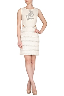 Ivory Embellished Side Cut Out Dress by Samatvam By Anjali Bhaskar
