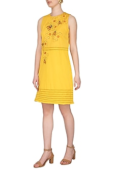 Yellow Hand Embroidered Shift Dress by Samatvam By Anjali Bhaskar