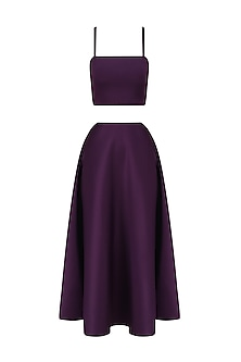 Plum Bralet and High Waisted Skirt Set by Samatvam By Anjali Bhaskar