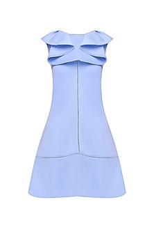 Powder Blue Ruffled Dress by Samatvam By Anjali Bhaskar