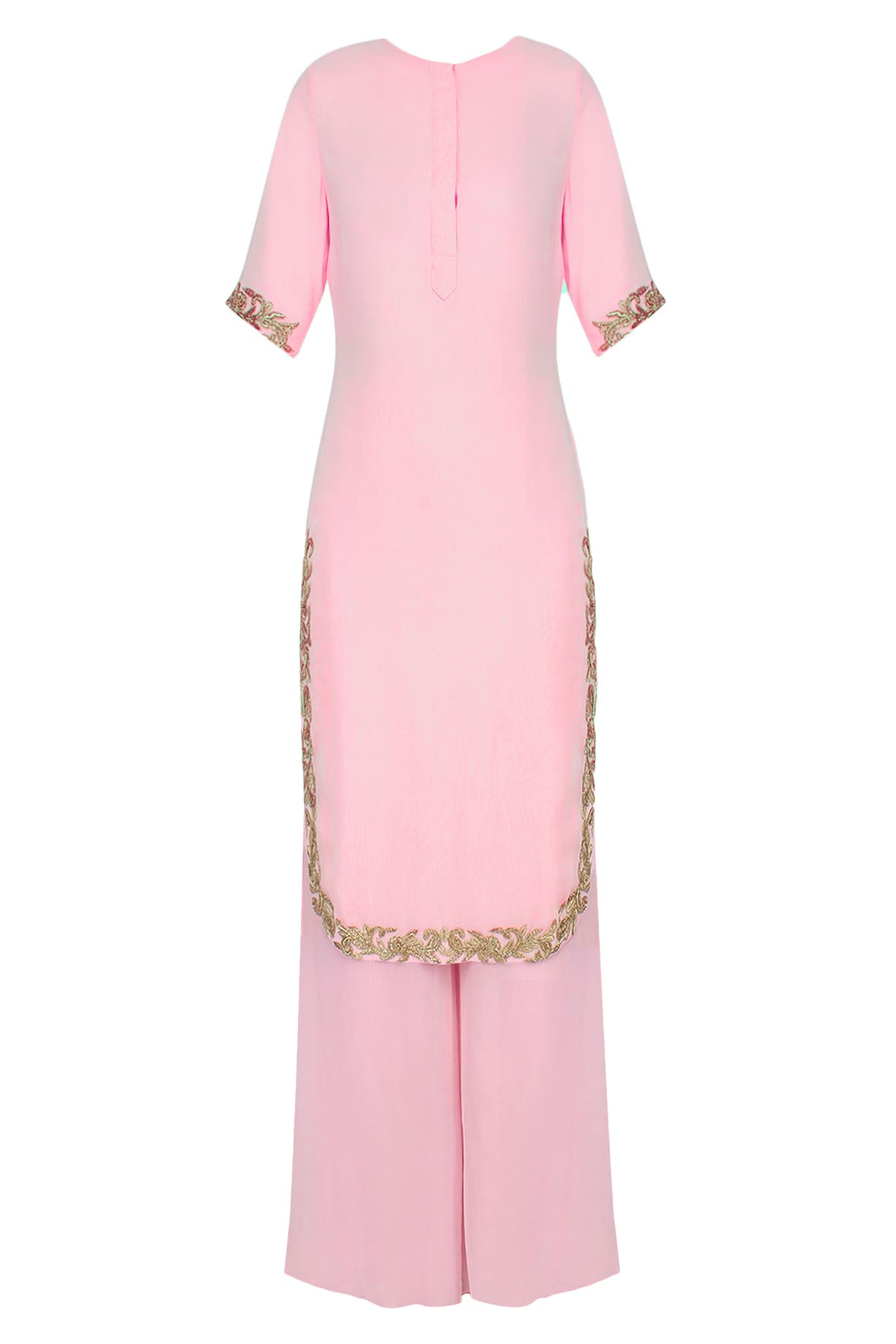 44fbb76c840d Pink and gold embroidered kurta and pants set available only at ...