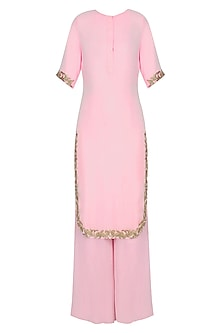 Pink and Gold Embroidered Kurta and Pants Set by Samatvam By Anjali Bhaskar
