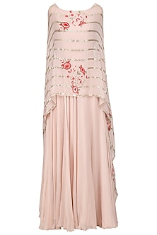 Blush Pink Anarkali Gown with Embroidered Cape Dupatta