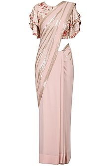 Blush Pink Embroidered Saree with Blouse