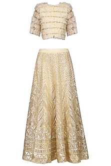 Nude Embroidered Lehenga with Frayed Jacket