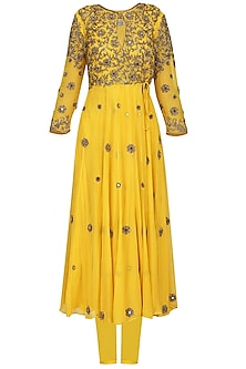 Yellow Embellished Anarkali Set