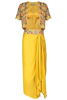 Yellow Embroidered Jacket with Dhoti Skirt And Bustier