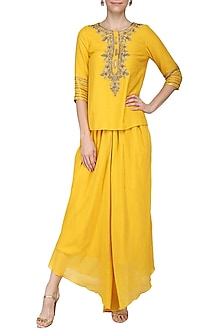 Mustard Yellow Hand Embroidered Tunic with Dhoti Pants by Samatvam by Anjali Bhaskar