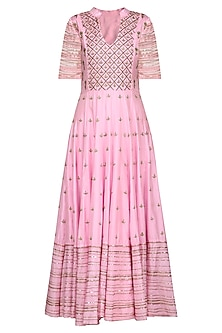 Pink and Green Embroidered Anarkali Set