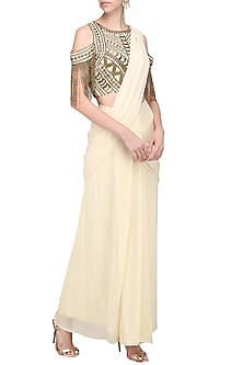 Beige and Copper Pre Draped Embroidered Saree by Samatvam by Anjali Bhaskar